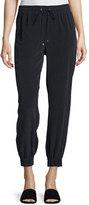 Theory Cortlandt Summer Silk Jogger Pants, Navy Blue