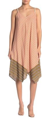 MSK Geometric Chain Print Challis Rope Shoulder Strap Dress