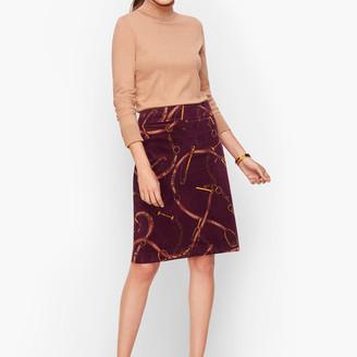 Talbots Corduroy A-Line Skirt - Equestrian Print