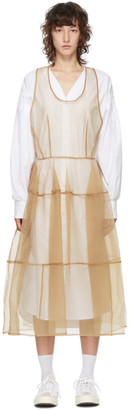 pushBUTTON SSENSE Exclusive White and Beige Sheer Organza Dress