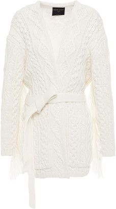 Mother of Pearl Willow Fringe-trimmed Cable-knit Cotton-blend Cardigan
