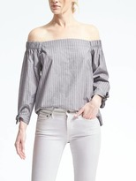 Banana Republic Gray Stripe Off-Shoulder Top