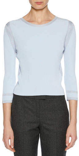 Giorgio Armani 3/4-Sleeve Viscose Knit Top, Light Blue