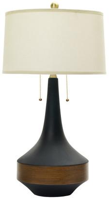 Fangio Lighting Floating Ceramic Table Lamp, Matte Black, Dark Oak, Antique Brass Acce