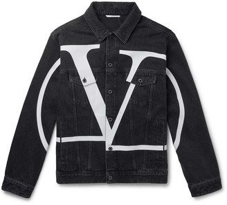 Valentino Oversized Logo-Print Denim Jacket