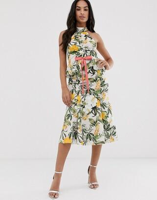 Asos DESIGN floral halter ruched front midi dress