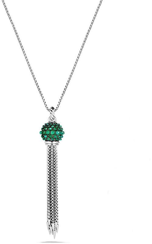 David Yurman Osetra Tassel Necklace with Green Onyx