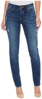 Jag Jeans Carter Girlfriend Crosshatch Denim Jeans in Thorne Blue w/ Destruction Women's Jeans