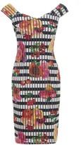 Sarvin Linda Off Shoulder Stripe and Floral Print Bodycon Dress