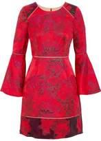 Marchesa Corded Lace-Paneled Metallic Jacquard Mini Dress