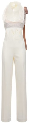 DANIELLE FRANKEL Crepe & Lace Jumpsuit