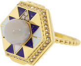 Lapis Harwell Godfrey Pearl Top and Diamond Poison Ring