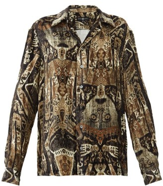 Edward Crutchley Raja-print Cuban-collar Velvet Shirt - Brown Multi