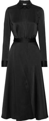 Rosetta Getty Apron Wrap-effect Satin Midi Shirt Dress