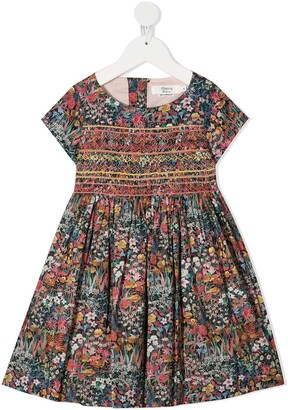 Bonpoint Floral Print Dress With Smock And Embroidery Detail