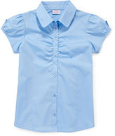 Izod Short-Sleeve Woven Shirring Top - Girls 7-18 and Plus