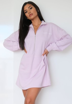 Missguided Lilac High Neck Oversized Sweater Dress