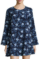 Lucca Couture Long-Sleeve Floral-Print Shift Dress, Blue