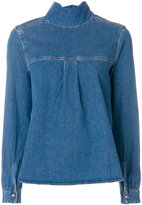 Semi-Couture Semicouture roll-neck denim blouse