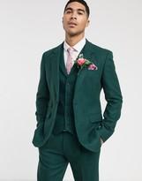 Asos Design ASOS DESIGN wedding slim suit jacket in wool mix texture in green