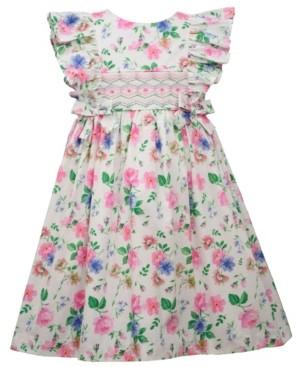 Bonnie Jean Little Girls Flutter Sleeved Floral Woven Poplin Print Dress