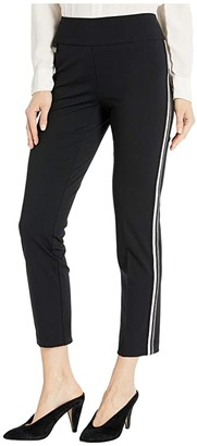 Lisette L Montreal Kathryne Fabric Pull-On Ankle Pants with Side Stripes (Black) Women's Casual Pants
