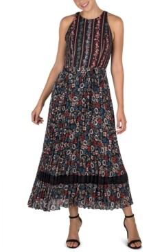 Julia Jordan Pleated Chiffon Midi Dress