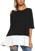 Black & Off-White Contrast Hem Tunic