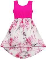 Sunny Fashion JN91 Girls Dress Hi-lo Maxi Chiffon Lace Polka Dot Necklace Party