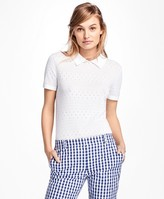 Brooks Brothers Short-Sleeve Cotton Pointelle Polo Sweater