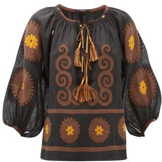 Vita Kin - Siam Floral-applique Linen Blouse - Brown Multi