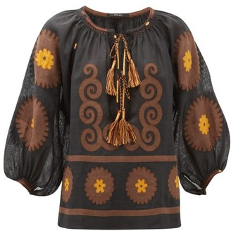 Vita Kin - Siam Floral-applique Linen Blouse - Womens - Brown Multi