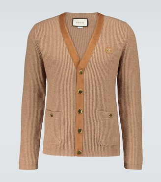 Gucci Suede-trimmed knitted cardigan
