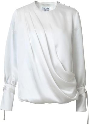 Diana Arno Lily Draped Silk Blouse In Dreamy White