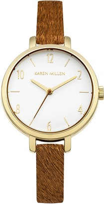 Karen Millen Women's Quartz Watch with White Dial Analogue Display and Brown Leather Strap KM138TG