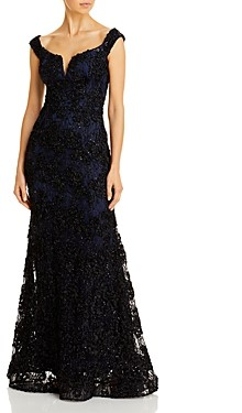 Aqua Off-the-Shoulder Embellished Lace Gown - 100% Exclusive