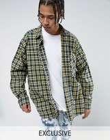 Reclaimed Vintage Inspired Oversized Shirt In Yellow Checked Flannel