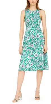 Vince Camuto Twist-Knot Floral-Print Midi Dress