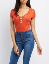 Charlotte Russe Faux Suede Lattice-Front Bodysuit