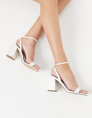 ASOS DESIGN Havana barely there block heeled sandals in ivory