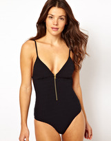 Insight Pucker One Piece Swimsuit With Zip