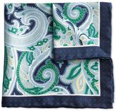 Charles Tyrwhitt Navy and green paisley border classic pocket square