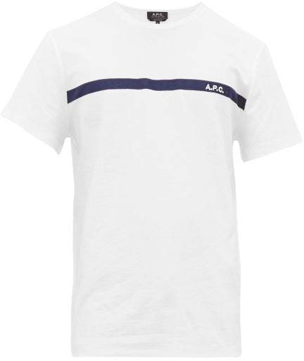 A.P.C. Logo Embroidered Cotton T Shirt - Mens - White