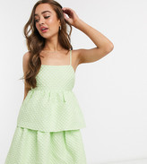 Collective The Label Petite textured peplum smock dress in mint