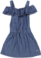 DKNY Dark Wash Ruffle Cutout Dress - Toddler & Girls