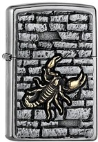 Zippo Collection 2018 17199 Scorpion on the wall emblem Street Chrome Windproof Lighter, Chrome, Silver, 6 x 4 x 2 cm