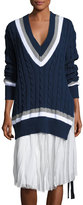 Public School Cora V-Neck Oversized Cable-Knit Sweater, Navy