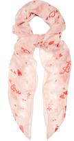 Alexander McQueen Sweetheart skull-print silk-chiffon scarf