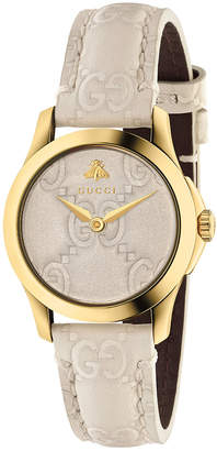 Gucci 27MM G-Timeless Logo Embossed Strap Watch in White   FWRD
