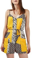 Topshop Animal & Daisy Patch Print Belted Romper